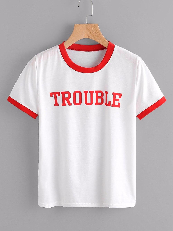 bester Service günstige Preise Modestil US $7.82 15% OFF|ÄRGER Damen ringer T rot Brief druckt shirt mode baumwolle  kleidung Tumblr shirts Grafik t shirt Top Pullover-in T-Shirts aus ...