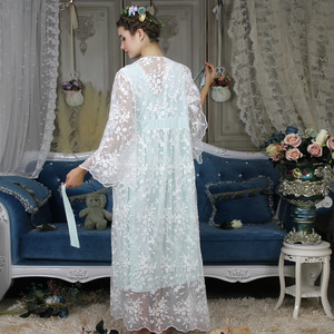 Image 5 - Autumn Cotton Women Embroidered Rob Sets White 2 Pieces Lace Nightgowns Long Sleeve Retro Solid Color Sleepwear Home Wear  063