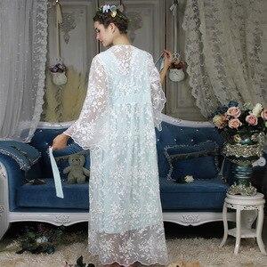 Image 5 - ฤดูใบไม้ร่วงผ้าฝ้ายผู้หญิงปัก Rob ชุดสีขาว 2 ชิ้น Lace Nightgowns แขนยาว Retro สีทึบชุดนอนสวมใส่ 063