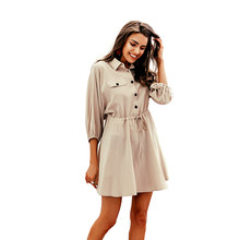 Vintage elagant women mini shirt dress Casual lantern sleeve short dress Turndown collar lace up linen female dresses(China)
