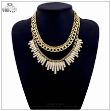 Romantic New ZA Brand Anime Gold Color Multilayer Statement Chokers Necklaces White Crystal Tassel Bib Kolye for Women