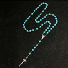 8mm high quality crystal pearl stone rosary necklace, glass Jesus long cross pendant