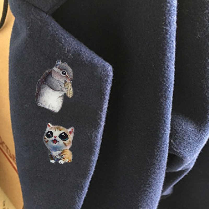 Baru Lnrrabc Fashion Kartun Hewan Kucing Anjing Enamel Bros untuk Wanita Anak-anak Bros Perhiasan DIY Hijab Kerah Pin Pakaian Ornamen