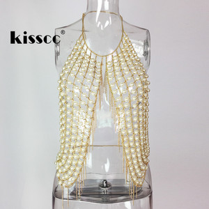 Image 3 - Sexy Pearl Metal Tassel Cropped Top Tank Bustier Halter Backless Crop Tops Pearl Metal Chain Tassels Stitching