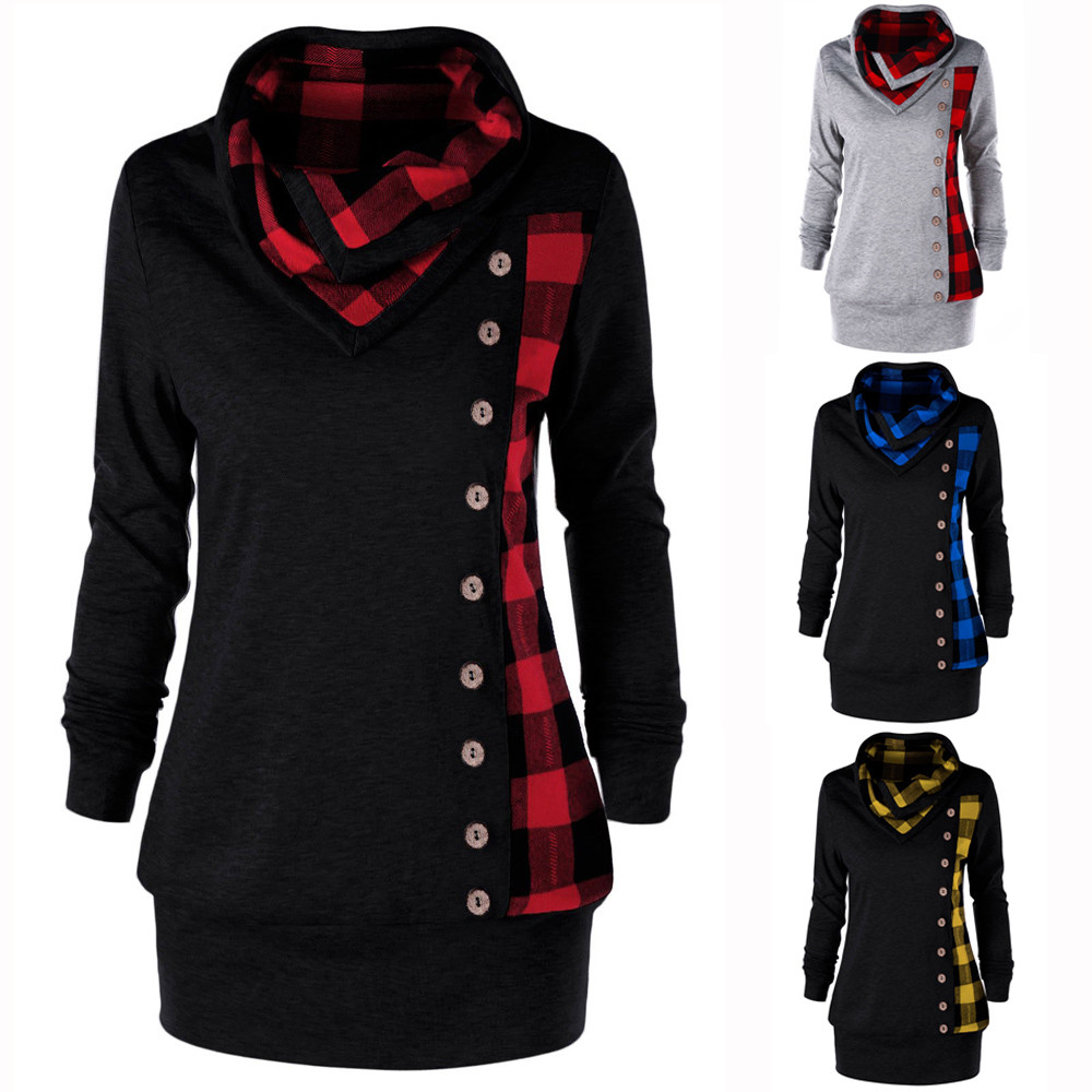 Autumn Winter Fashion Women Hoodie Casual Turn-Down Collar Button Hoody Plaid Patchwork Sweatshirt Top Blouse Hoodies Pullover