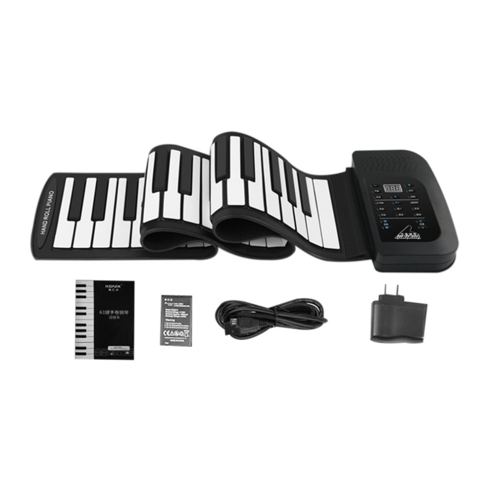 цена на TSAI Portable Flexible Roll Up Electronic Piano 61 Keys USB Rechargeable Digital Keyboard with 128 Tones Built-in Speaker