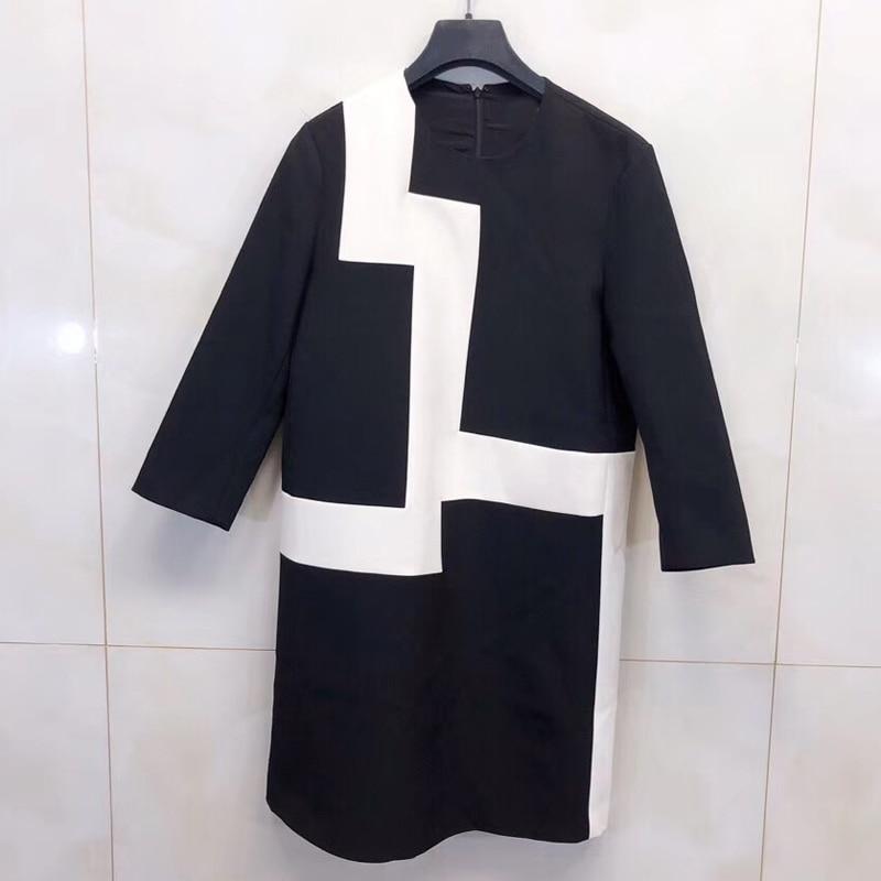 Kadın Giyim'ten Elbiseler'de Zarif Elbise Kadın Yaz O Boyun Tam Kollu Siyah Ve Beyaz Patchwork Elbise Bayanlar Için 2019 Moda Kadın Elbise'da  Grup 1