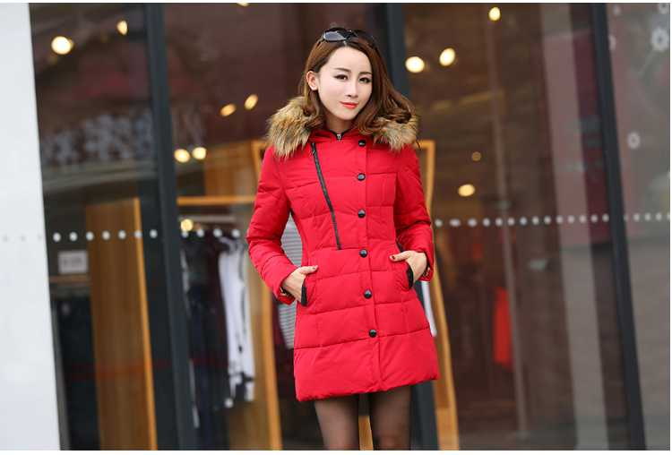 New Arrival Fashion Korean Long Puff Sleeves Zipper Fur Hooded Collar Grey Duck  Jackets Slim Overcoat Women  Coat H5272 new arrival fashion korean winter hooded cotton adjustable hem double breasted puff sleeve fur collar women jacket coat h4283