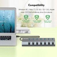 Wavlink Aluminum USB HUB 3.0 with power adapter On/Off Switch High Speed 4 /7 Ports USB 3.0 HUB EU/US/UK plug for MacBook Laptop