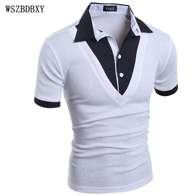 Mens Polo Shirt Brands 2017 Male Short Sleeve Fashion Casual Slim Fake Two Button Polos Men  Jerseys   2XL PORU