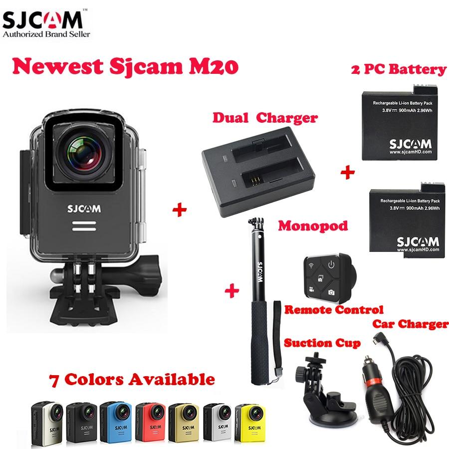 bilder für Ursprüngliche SJCAM M20 Wifi 30 Mt Wasserdichte Sport Action Kamera Sj Cam DV + 2 Batterie + Dual Charger + einbeinstativ Fern + Car Charger + Sauger