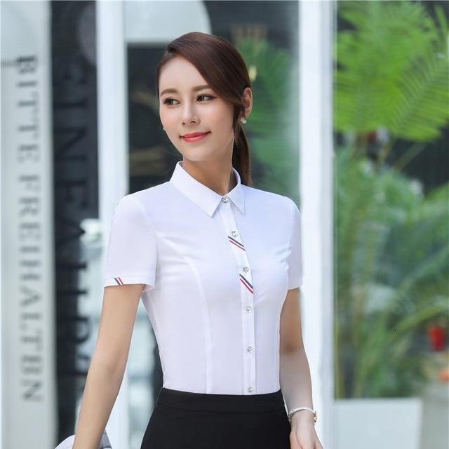 49a9f73e93 Elegancki biały lato z krótkim rękawem profesjonalne bluzki i koszule  damskie topy panie urząd pracy Wear