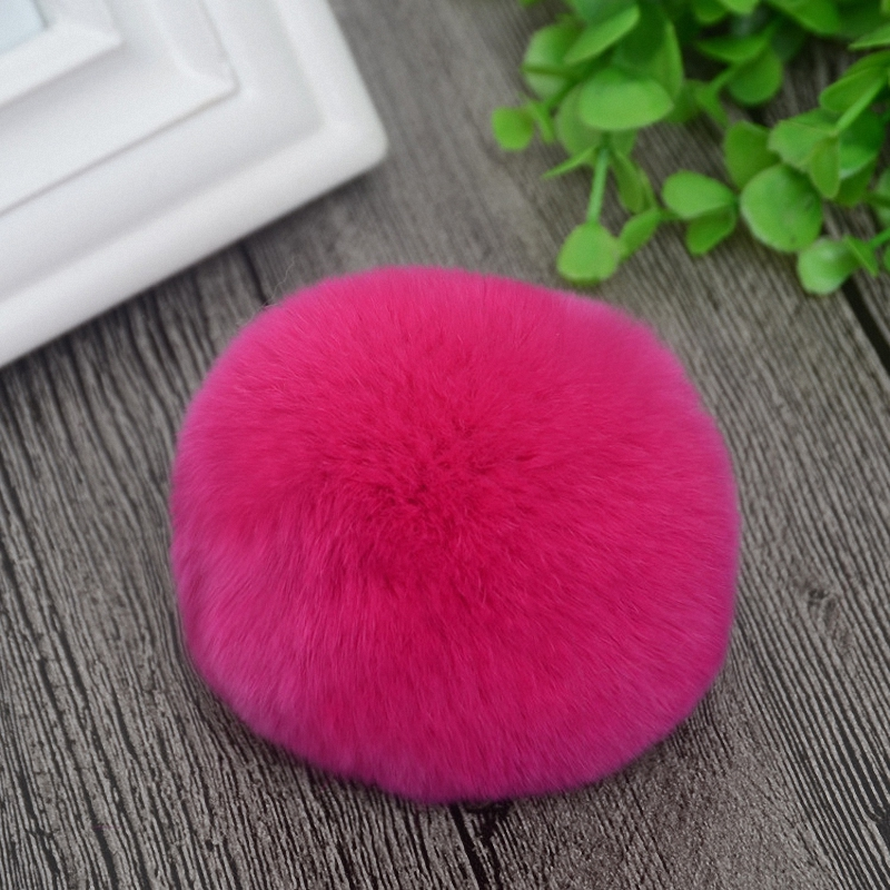 8cm Nature Genuine Rex Rabbit Fur Ball Pom Pom Fluffy DIY Winter Hat   Skullies     Beanies   Knitted Cap Pompoms DEF001-rose