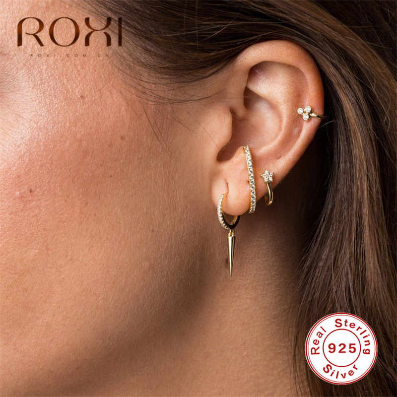 ROXI Fashion Women Stud Earrings Single Spike Ear Cartilage 925 Sterling Silver Earings Jewelry Korean Punk Style Men Earrings