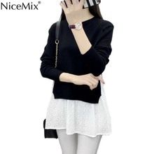 NiceMix 2016 Autumn Winter Women Pullover Casual Elegant Sweater+Lace Shirt Patchwork Split Side Loose Knitted Sweater