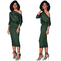 Women Sexy Mid Sleeved Dress Off Shoulder Army Green Slash Neck Dress Plus Size Elegant Bodycon