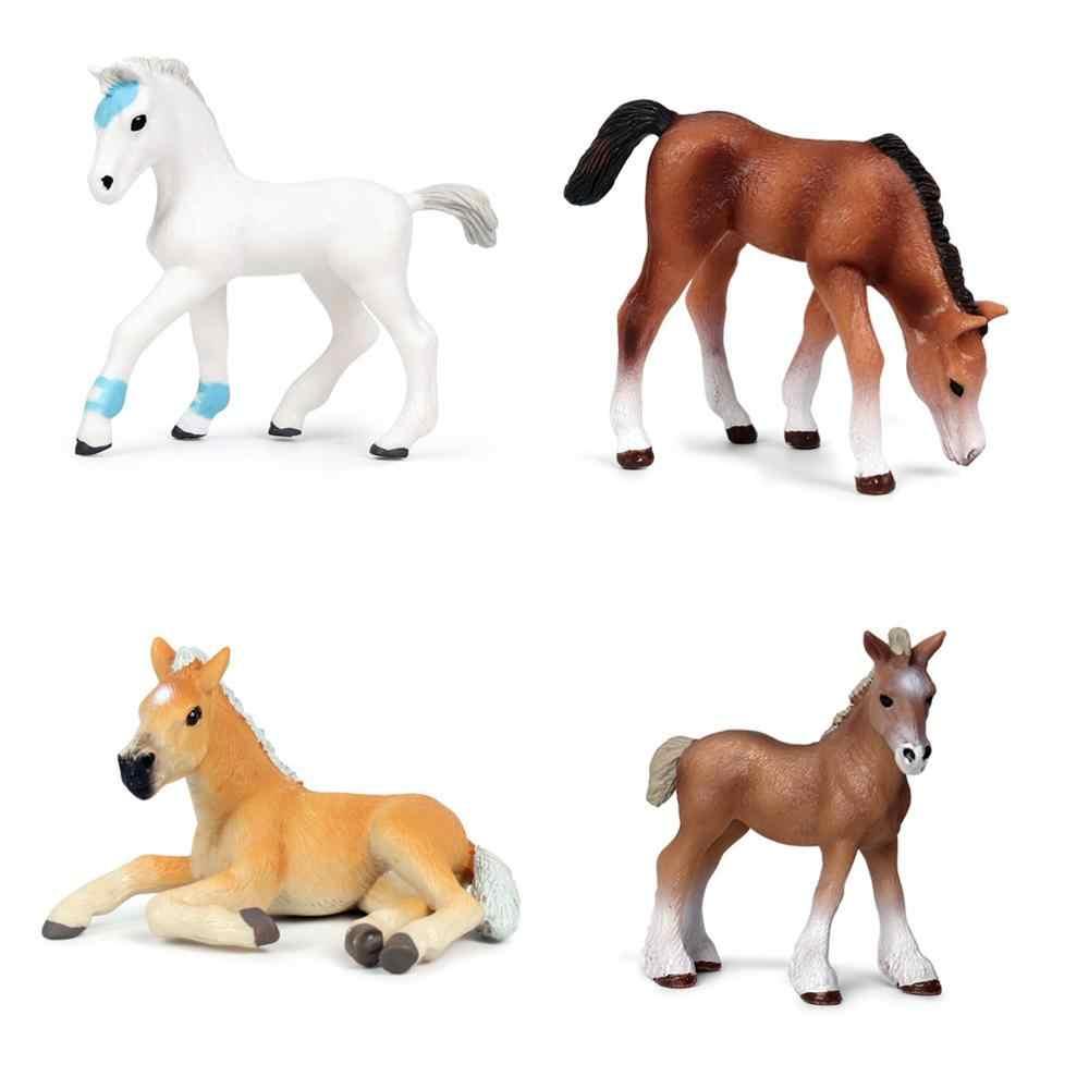Genuine animais de fazenda aves diy montagem modelos trabalhadores do agricultor cavalo vaca porco galinha figuras brinquedos educativos para crianças