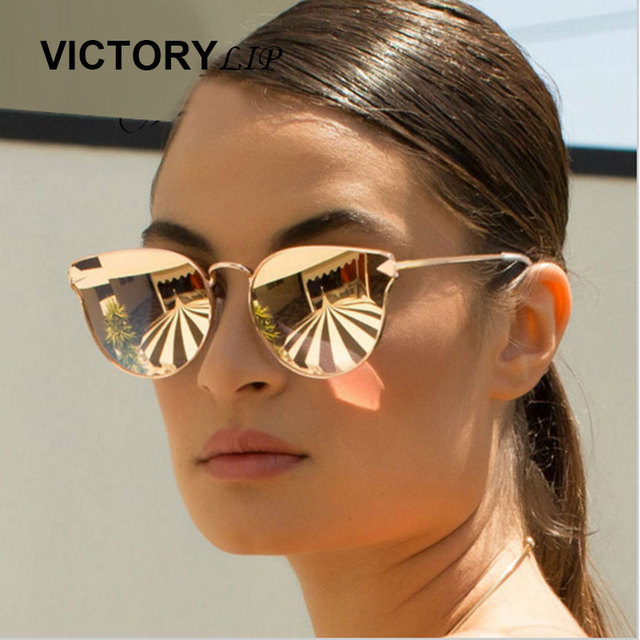 64b7f6a296 VictoryLip Rose Gold Cat Eye Hot Sale Metal Frame Sunglasses Brand Designer  Women Mirror Sun Glasses Female Good Quality
