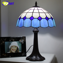 Buy blue lamp shades table lamps and get free shipping on fumat mediterranean style blue stained glass shade table lamps for living room aloadofball Image collections