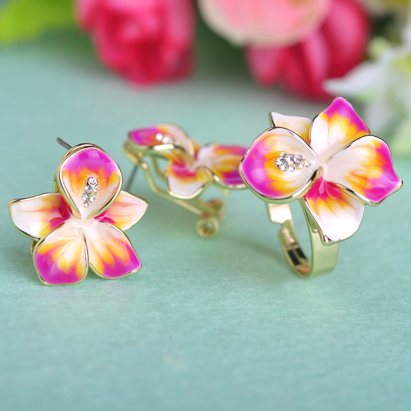 Blucome Adjustable Earrings Ring Set Joias Ouro Jewelry Sets Enamel Bijuterias Pink Flowers Joyas Wedding Women Girl Accessories