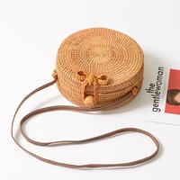 Exquisite Rattan Bag Plain Crossbody Beach Bag Butterfly Knot Garden Style Handbag Round Straw Storage Bag for Women Summer Gift