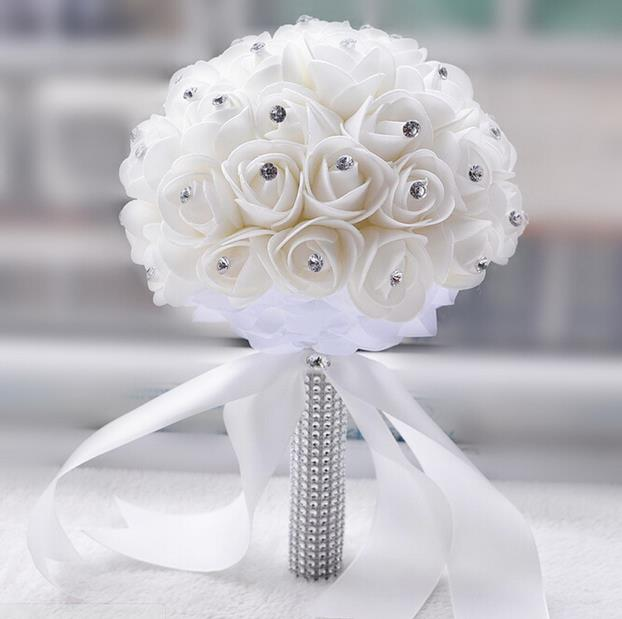 2016 wedding bouquet beautiful white ivory bridal flower wedding 2016 wedding bouquet beautiful white ivory bridal flower wedding bouquet artificial flower rose bouquet crystal bridal bouquets in wedding bouquets from mightylinksfo