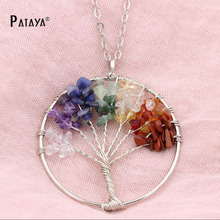 PATAYA Peace Healthy Wisdom Tree Necklaces Chakra Citrine Amethyst Opal Natural Stone Pendant Necklace Beaded Copper Chain Gift