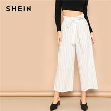 45418f24e556 SHEIN White Paperbag Waist Striped Wide Leg Pants Women Belted Crop Trousers  Office Lady 2019 Spring Elegant Boho Workwear Pants