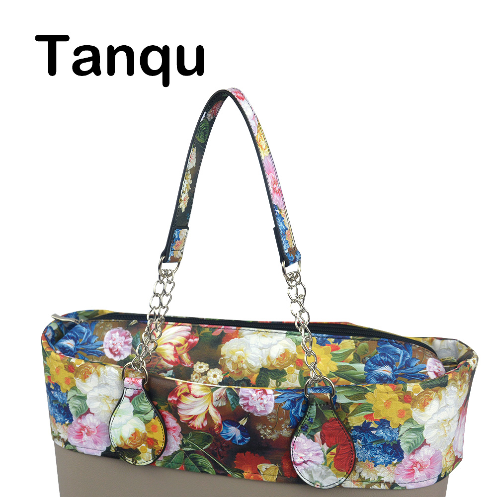 TANQU 1 Pair Edge Painting Floral Leather PU Chain Handle with Tear Drop End Double Metal Chain for O Bag for EVA Obag Women Bag