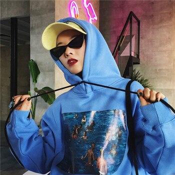 2019 Harajuku Hoodies Sweatshirts Women Pullvoer Hoodie Korean Ulzzang Printed Long Sleeve Hooded Fleece Sweatshirt Autumn Coat