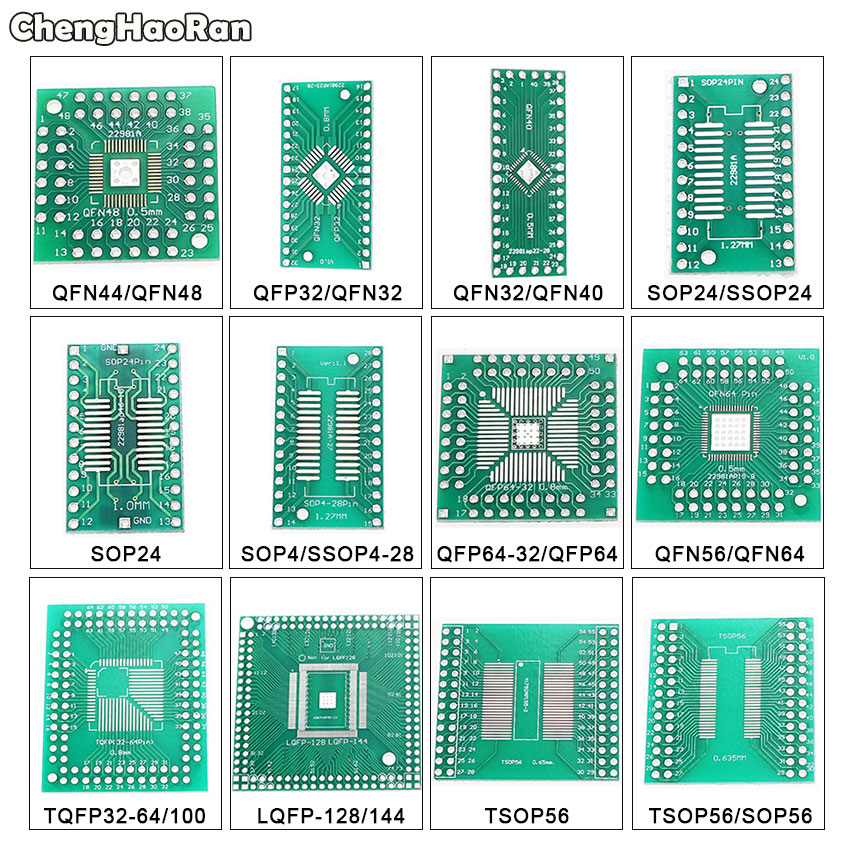 ChengHaoRan QFN44 48 QFP32 SOP24 SSOP24 QFP64 QFN64/40 TSOP56 To DIP PCB Transfer Board DIP 24/32/40/48 Pin Board Pitch Adapter