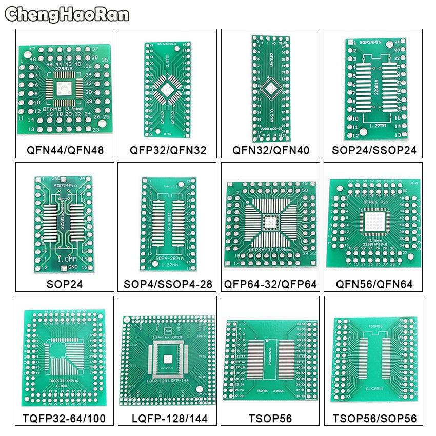 ChengHaoRan QFN44 48 QFP32 SOP24 SSOP24 QFP64 QFN64/40 TSOP56 To DIP PCB Transfer Board DIP 24/32/40/48 Pin Board Pitch Adapter