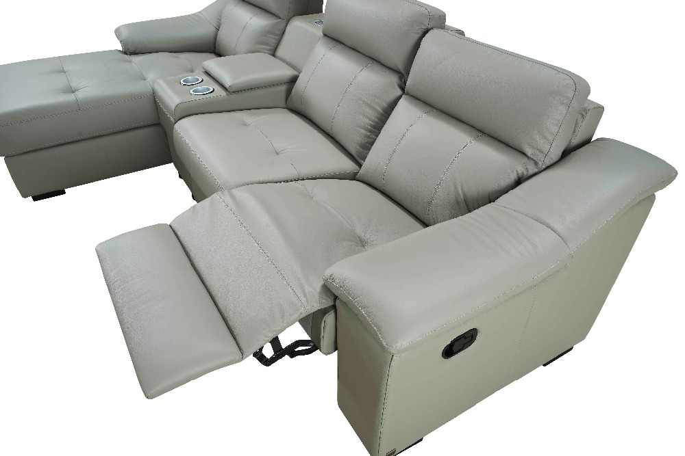 Современный угловой кожаный диван для просмотра кино с USB зарядкой реклайнер диван
