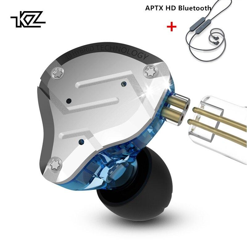 Hdbluetooth em Fones de Ouvido Fones de Ouvido Fone de Ouvido com Cancelamento Cancelamento de Ruído de Metal Fone de Ouvido de Alta Fidelidade de Graves Monitor de de 4ba plus 1dd kz Zs10 Pro Híbrido Esporte de Ruído de Metal Monitor de