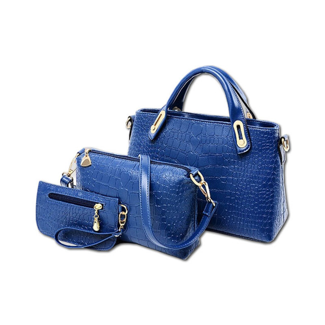 Women Handbags 3 Sets PU Leather Handbag Women Messenger Bags Ladies Tote Bag Handbag+Shoulder Bag+Purse pay one get three