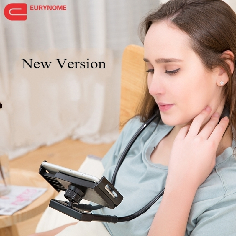 Lazy Bracket 360 Degree Rotation tablet Holder For samsung Hanging Neck Bracket phone Holder Stand Bed Mount For Ipad for huawei m08 360 degree rotation scooter bracket w c60 back clamp for 7 10 inch tablet pc black