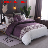 Purple Color Home Textile Duvet Cover Set Flower Print Bedding Set Twin Double Queen Bed Linen Bedclothes 3P
