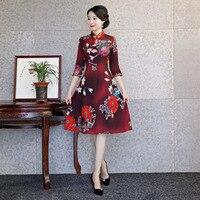 Sexy Red Qipao Lady Chinese Classic Print Floral Mandarin Collar Cheongsam Plus Size Slim Women Satin Evening Dress Vestidos 3XL