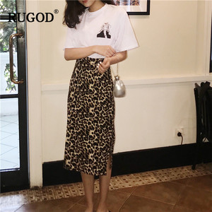 Image 2 - RUGOD Korean Sexy Leopard Print Long Skirt Women 2020 Autumn Fashion High Elastic Waist Pencil Skirt Snake Print Skirt for Lady