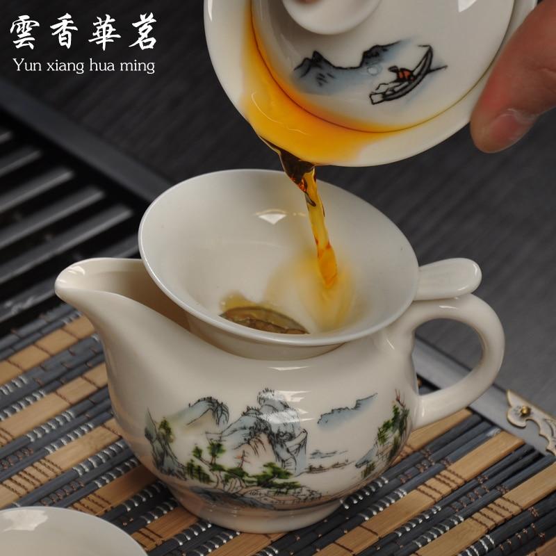 Ceramic porcelain white porcelain tea set special set of Kung Fu tea ceremony wood tray tea table - 2