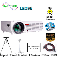 Poner Saund LED96 HD Projector led 5500 lumens 3D proyector home theater With 10m HDMI and Wall bracket Tripod Vs bt96