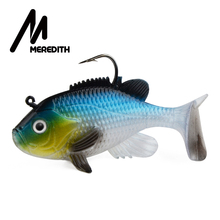 "Meredith 3,15 ""Sunfish 3pcs 21.6g 8cm Lead Head Fiske Lure Artificial Soft Baits Fiske myke Lure Wobblers Lead agn Tackle"