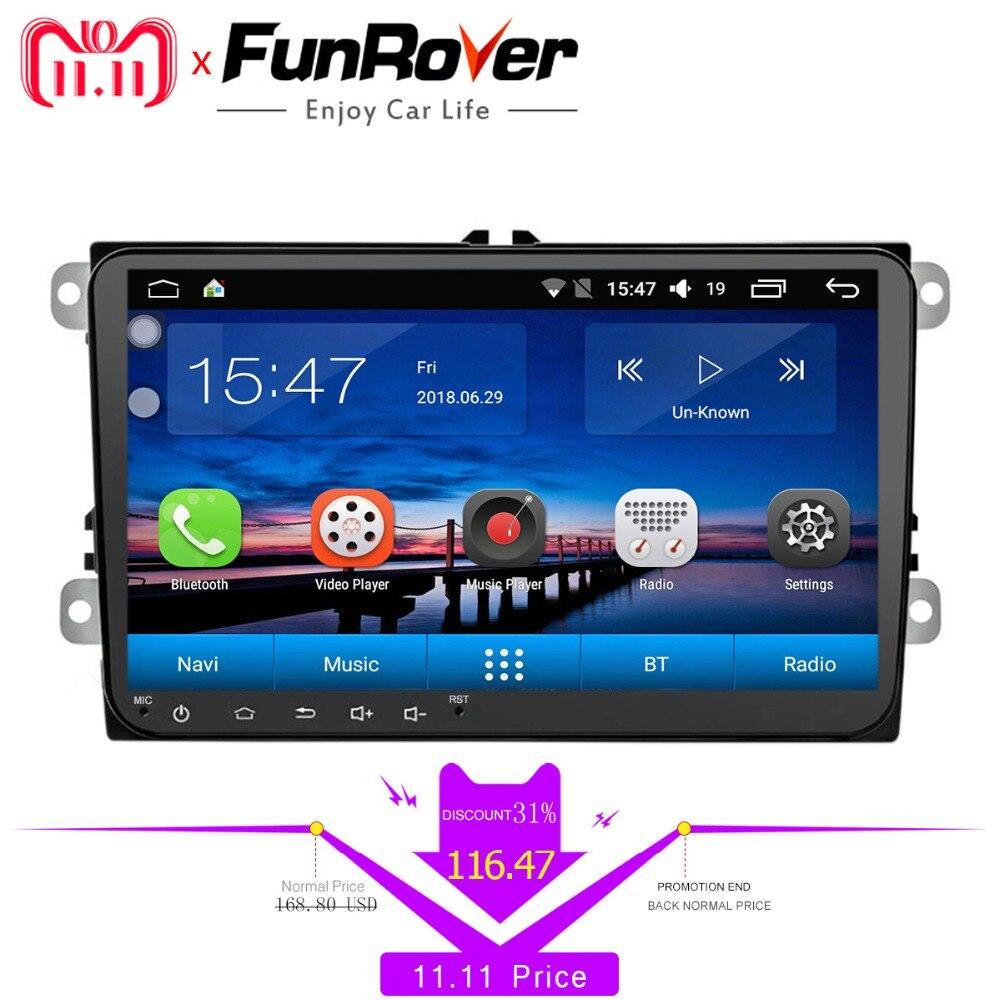 FUNROVER android 8,0 автомобильный dvd для Volkswagen passat b7 b6 Гольф 5 Поло tiguan octavia fabia с gps навигации радио плеер