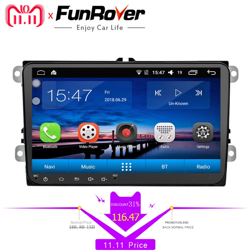 FUNROVER android 8.0 car dvd For Volkswagen passat b7 b6 golf 5 polo tiguan octavia fabia with car gps navigation radio player car dvd gps android 8 1 player 2din radio universal wifi gps navigation audio for skoda octavia fabia rapid yeti superb vw seat
