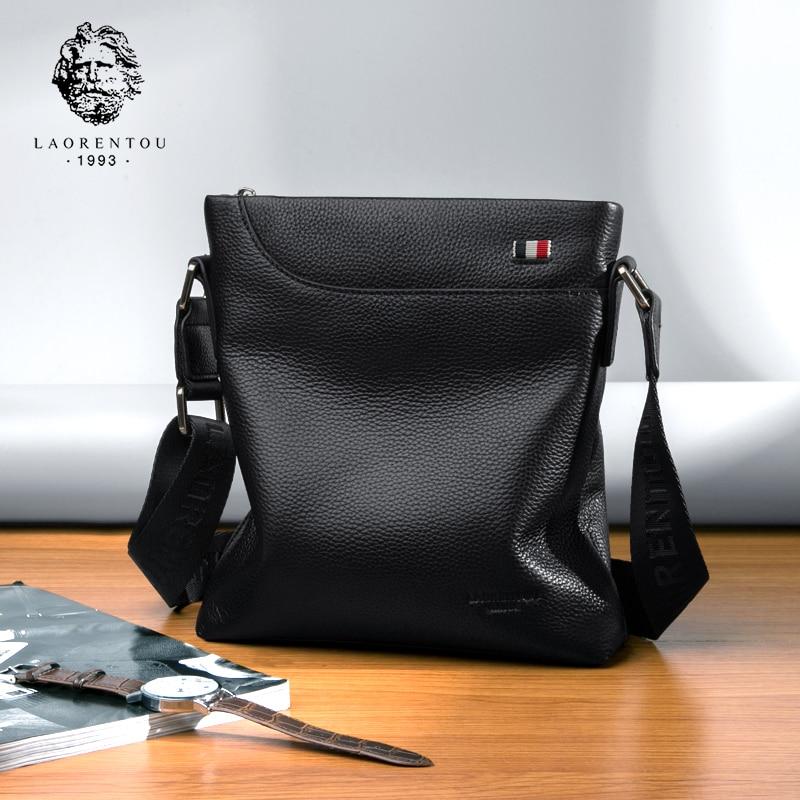 bd3b61395875 LAORENTOU кожаная сумка для Мужская, из бычьей кожи сумка, сумка на плечо  бизнес Винтаж мужская из натуральной кожи Crossbody