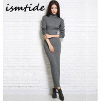 Knitted Dresses Woman Cashmere Sweaters Warm Winter Long Sleeve Sexy Slim Female Pullovers Turtleneck Sweater Dress