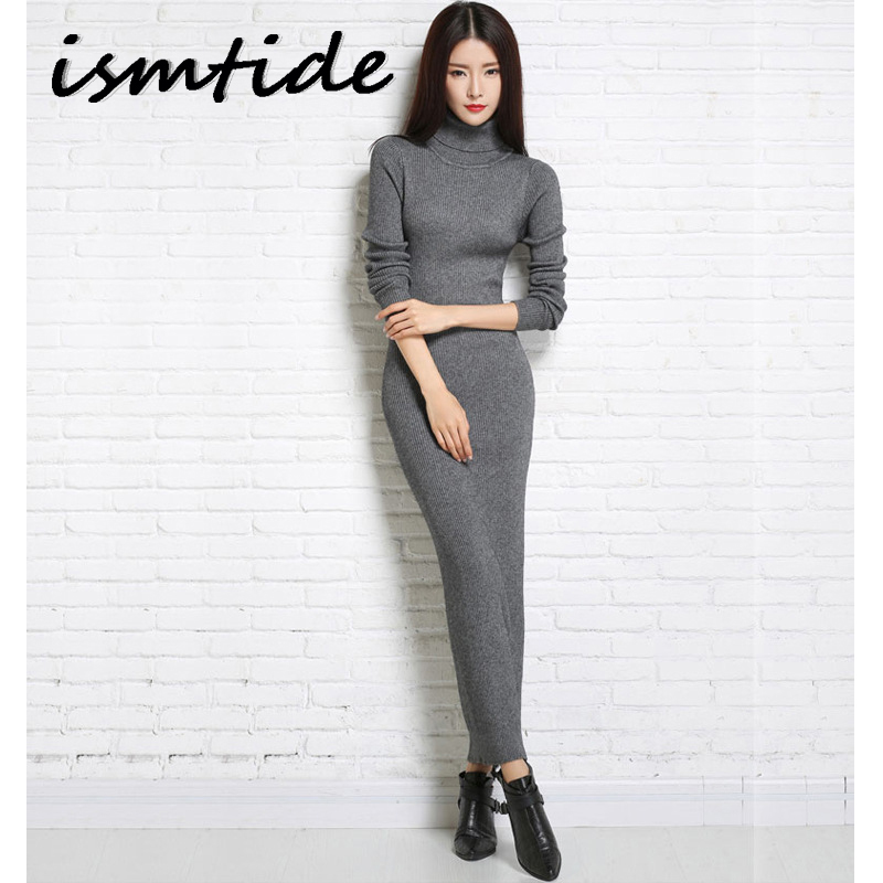 Sweater Dress Knitted Woman Cashmere Sweaters Dresses Warm Winter Long Sleeve Sexy Slim Female Pullovers Turtleneck Maxi Elegant ...