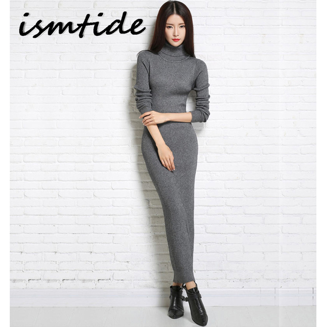 Knitted Dresses Woman Cashmere Sweaters Warm Winter Long Sleeve Sexy Slim Female Pullovers Turtleneck Sweater Dress Maxi Elegant