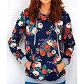 2016 Spring Autumn Women hoodies Plus Flower Print Hoodies Casual Loose Pullovers Sudaderas Mujer