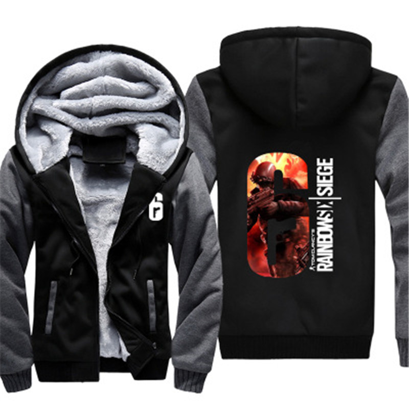 Dropshiping EU SIZE High Quality Winter Game Rainbow Six Thick Hoodie For Man Women Anime Zipper Coat Jacket Sweatshirt Cosplay